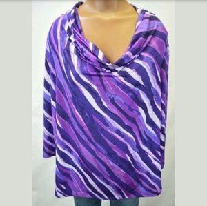 ** Dana Buchman Top with 3/4 Sleeves Purple Shades